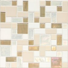 "Keystones Blends 12"" x 12"" Block Random Porcelain with Oceanside Glass Mosaic Tile in Coconut Beach"