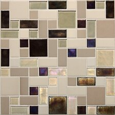 Keystones Blends Random Sized Block Porcelain with Oceanside Glass Mosaic Tile in Sunset Cove