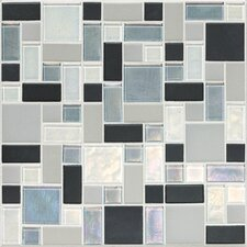 "Keystones Blends 12"" x 12"" Block Random Porcelain with Oceanside Glass Mosaic Tile in Tropical Thunder"