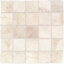 "Portenza 3"" x 3"" Tumbled Mosaic Field Tile in Bianco Ghiaccio"