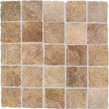 "Portenza 3"" x 3"" Tumbled Mosaic Field Tile in Terra Di Siena"