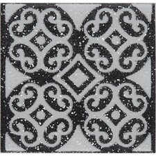"Fashion Accents 2"" x 2"" Dots Decorative Glimmer Insert Tile in Black (Set of 4)"