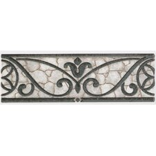 "Fashion Accents 8"" x 3"" Classics Wrought Iron Decorative Listello in Grey"