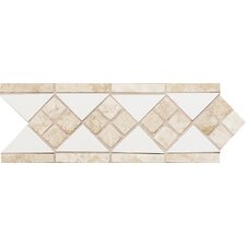 "Fashion Accents 12"" x 4"" Decorative Listello in White/Travertine"