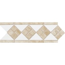 "Fashion Accents 12"" x 4"" Decorative Listello in Arctic White/Travertine"