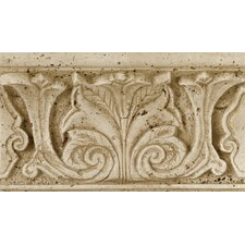 "Fashion Accents 8"" x 4"" Romanesque Decorative Shelf Rail in Acanthus Travertine"