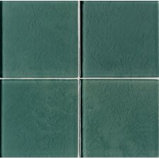 "Molten Glass 4 1/4"" x 4 1/4"" Wall Tile in Mint Leaf"
