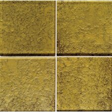 "Molten Glass 4 1/4"" x 4 1/4"" Multi-Colored Wall Tile in Gold Mine"