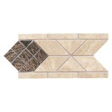 "Metal Ages 8-1/2"" x 4"" Lancet Glazed Decorative Accent Strip in Sonora Stone/Playa Blanca with Clefted Bronze"