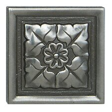 "Metal Ages 2"" x 2"" Romanesque Glazed Decorative Tile Insert in Polished Pewter"