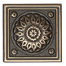 "Metal Ages 2"" x 2"" Baroque Glazed Decorative Tile Insert in Polished Bronze"