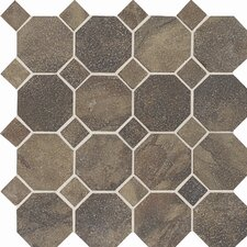 Aspen Lodge Ceramic Unpolished Mosaic Field Tile in Midnight Blaze