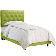 Tufted Micro-Suede Youth Bed in Kiwi