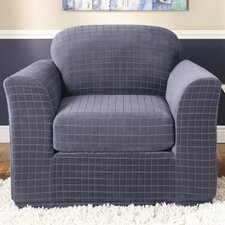 Stretch Squares Two Piece Chair Slipcover