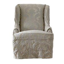 Matelasse Damask Wing Chair Slipcover
