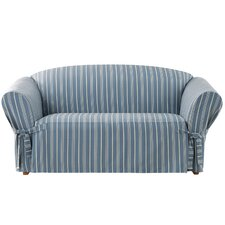 Grain Sack Stripe Loveseat Slipcover