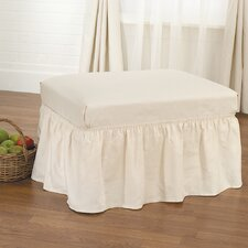 <strong>Sure-Fit</strong> Cotton Duck Ottoman Skirted Slipcover
