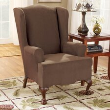 <strong>Sure-Fit</strong> Stretch Suede Wing Chair T Cushion Slipcover