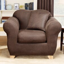Stretch Leather Two Piece Chair Slipcover