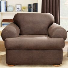 <strong>Sure-Fit</strong> Stretch Leather Two Piece Chair T-Cushion Slipcover