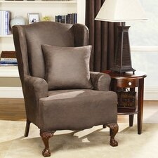 <strong>Sure-Fit</strong> Stretch Leather Wing Chair Slipcover