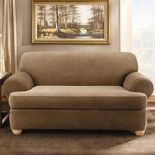 <strong>Sure-Fit</strong> Stretch Stripe Two Piece Sofa T-Cushion Slipcover