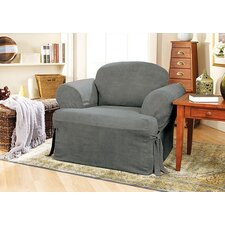 Soft Suede Club Chair T-Cushion Slipcover
