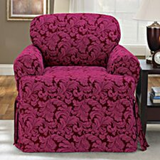 Scroll Classic Club Chair T Cushion Skirted Slipcover