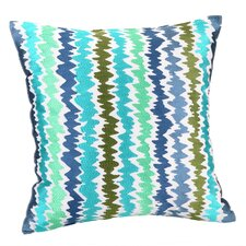 Tropical Floral Ikat Stripe Throw Pillow