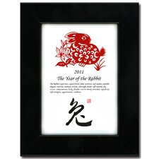"<strong>Oriental Design Gallery</strong> 5"" x 7"" Black Satin Frame with Year of the Rabbit Print 11V"