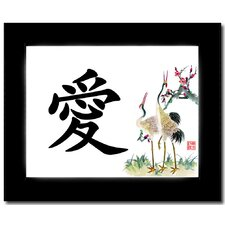 Love (Cranes) Calligraphy Framed Graphic Art