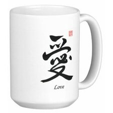 Chinese Traditional Style Calligraphy Love 15 oz. Coffee / Tea Mug (Set of 4)