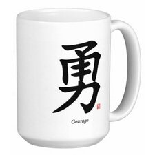 Chinese Traditional Calligraphy Courage 15 oz. Coffee / Tea Mug (Set of 2)