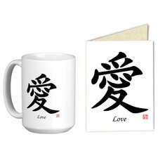 Chinese Traditional Calligraphy Love 15 oz. Coffee / Tea Mug and Note Card