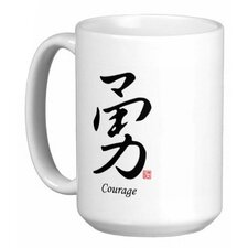 <strong>Oriental Design Gallery</strong> Chinese Stylish Calligraphy Courage 15 oz. Coffee / Tea Mug