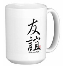 Chinese Stylish Calligraphy Friendship 15 oz. Coffee / Tea Mug (Set of 4)