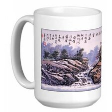 Chinese Calligraphy Art Village and Waterfall 15 oz. Coffee / Tea Mug
