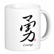 Chinese Stylish Calligraphy Courage 11 oz. Coffee / Tea Mug (Set of 4)