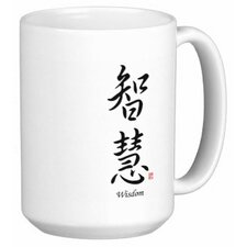 Chinese Stylish Calligraphy Wisdom 15 oz. Coffee / Tea Mug (Set of 4)