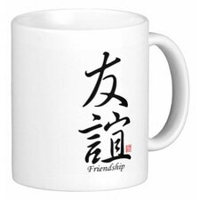 Chinese Stylish Calligraphy Friendship 11 oz. Coffee / Tea Mug (Set of 4)