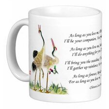 <strong>Oriental Design Gallery</strong> Chinese Love Poem with Standing Cranes As Long as You Love Me 11 oz. Coffee / Tea Mug