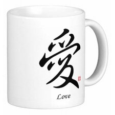 Chinese Stylish Calligraphy Love 11 oz. Coffee / Tea Mug (Set of 4)