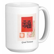 Chinese Calligraphy Good Fortune 15 oz. Coffee / Tea Mug (Set of 4)