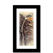 Waterfall and House by Lin Hung Tsung Framed Painting Print