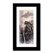 Mountain House and Waterfall by Lin Hung Tsung Framed Painting Print