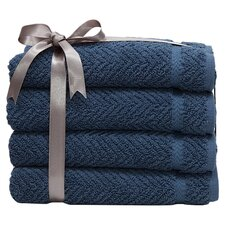 <strong>Linum Home Textiles</strong> Luxury Hotel & Spa Herringbone Weave 100%Turkish Cotton Hand Towel (Set of 4)