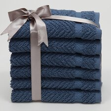<strong>Linum Home Textiles</strong> Luxury Hotel & Spa Herringbone Weave 100% Turkish Cotton Wash Cloth (Set of 6)