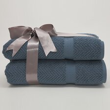 Herringbone Weave 100% Turkish Cotton Bath Towel (Set of 2)