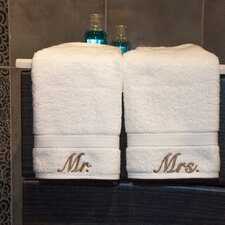 <strong>Linum Home Textiles</strong> Luxury Hotel and Spa Personalized Mr. and Mrs. Hand Towel (Set of 2)
