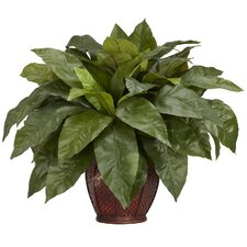 Birdsnest Fern with Decorative Vase Silk Plant